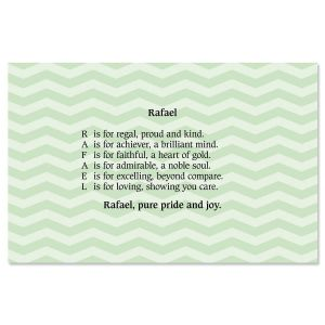 Chevron Mint Name Poem Placemat