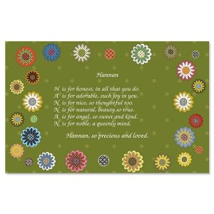 Daisy Flower Name Poem Placemat