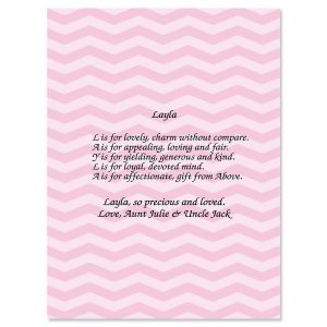 Chevron Pink Name Poem Print