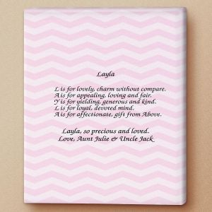 Chevron Pink Name Poem Canvas Print