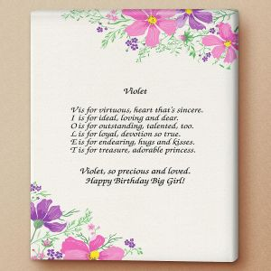 Violet Name Poem Canvas Print