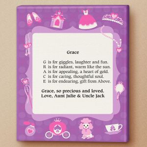 Princess Name Poem Canvas Print