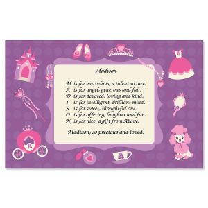 Princess Name Poem Placemat