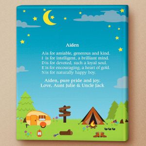 Camping Name Poem Canvas Print