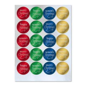 Foil Christmas Sentiments Stickers Buy 1 Get 1 Free