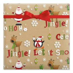Just a Jingle Kraft Jumbo Rolled Gift Wrap