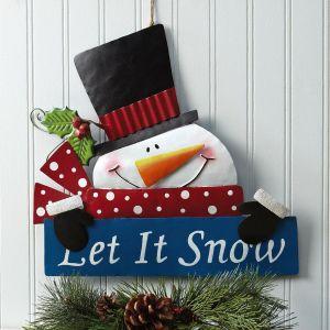 Let It Snow Snowman Metal Sign