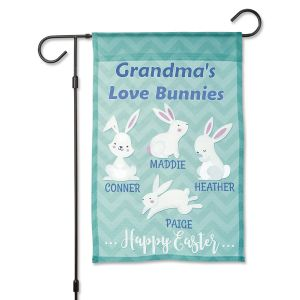 Easter Love Bunnies Custom Garden Flag