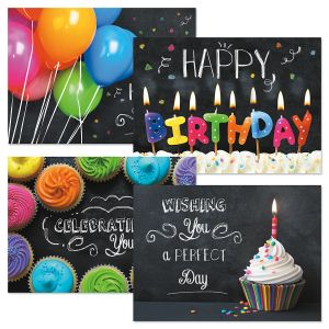Bright on Black Birthday Greeting Cards and Seals