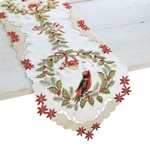 Bird on Wreath Christmas Table Runner