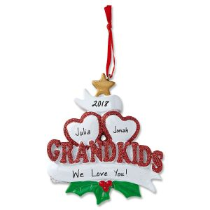 Grandkids with Hearts Personalized Christmas Ornaments