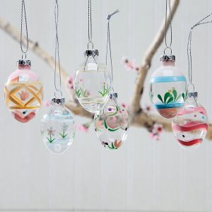 Handpainted Glass Easter Egg Ornaments
