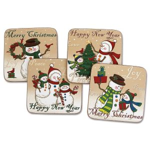 Cork Back Snowmen Coasters