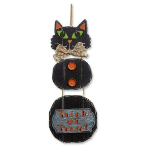 Black Cat Trick or Treat Halloween Wall Hanging