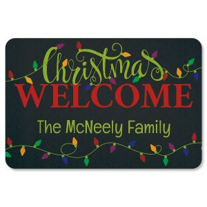 Holiday Lights Personalized Christmas Doormat