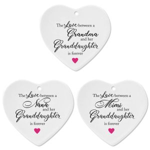 Granddaughter Heart Holiday Ornaments