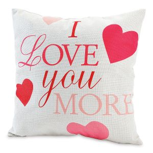 Love You More Valentine Pillow Cover
