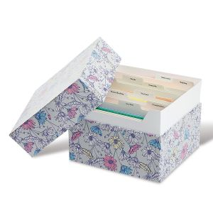 Greeting Card Organizer Box and Labels Daisies