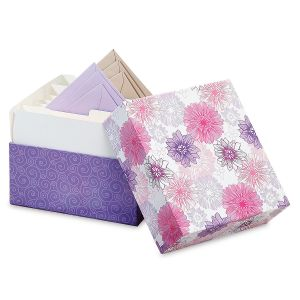 Lavender Blooms Greeting Card Organizer Box and Labels