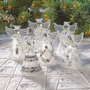 Sparkle Glass Angels Ornaments
