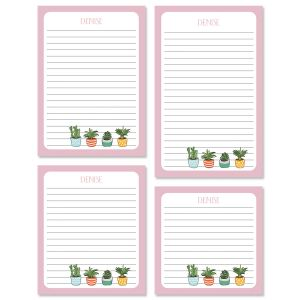 Pink Border Succulents Custom Memo Pad Sets