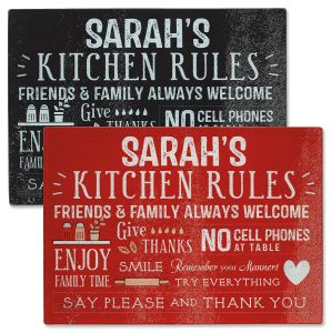 Custom Kitchen Rules Tempered Glass Cutting Board