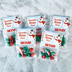 Personalized Toppers and Snowman Kisses Treat Bags