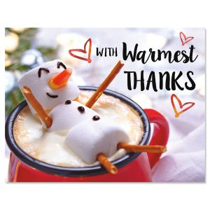 Marshmallow Snowman Thanks Note Cards - Buy 1 Get 1 Free