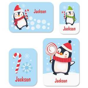 Custom Christmas Penguins Stickers
