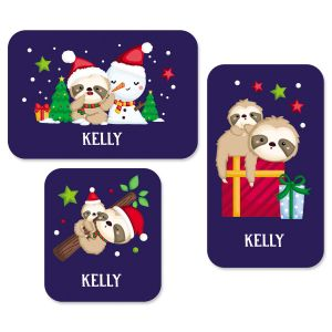 Custom Christmas Sloth Stickers