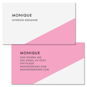 Pink Bevel Double Sided Business Card