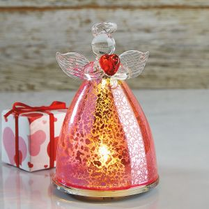 Pink Glass LED Angel withHeart