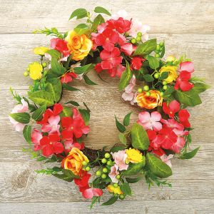 Pink & Yellow Flower Wreath