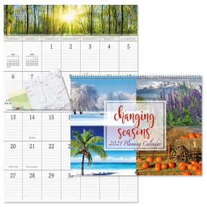 Changing Seasons Big Grid Calendar with Pockets 2021