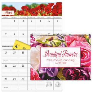 Beautiful Flowers Big Grid Planning Calendar with Pockets 2021