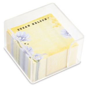 Custom yellow and purple note sheets in a cube