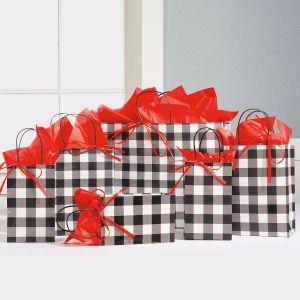 Black & White Plaid Gift Bag Set
