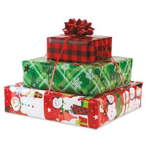 Snowman Plaid Flat Gift Wrap Sheets - Buy 1 Get 1 Free