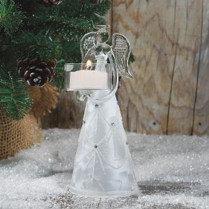 Glass Angel Tealight Holder