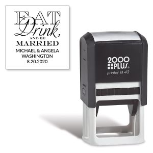 Custom Eat, Drink, Be Married Square Self-Inking Address Stamp