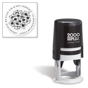 Custom Hydrangea Round Self-Inking Address Stamp
