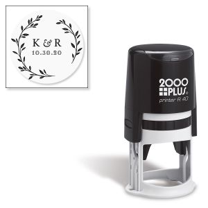Custom Floral Initial Round Self-Inking Address Stamp