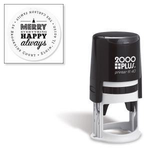 Custom Merry Everything Self-Inking Round Address Stamp