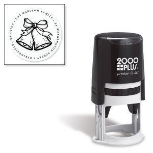 Custom Silver Self-Inking Bells Round Address Stamp