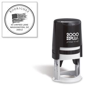Custom Patriotic Self-Inking Round Address Stamp