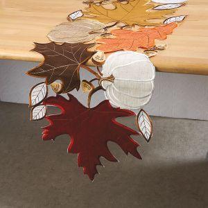 Maple & White Pumpkin Cutwork Table Runner