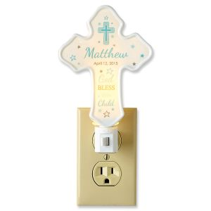 Custom Bless This Child Cross Blue Nightlight