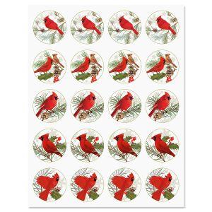 Christmas Cardinals Stickers