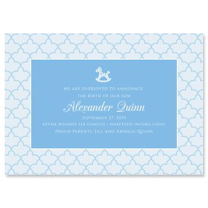 Custom Blue Scalloped Birth Announcement