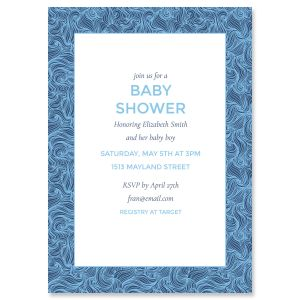 Custom Blue Wave Frame Shower Invitations
